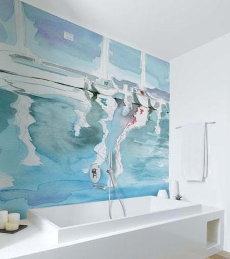 pintar pared baño azul
