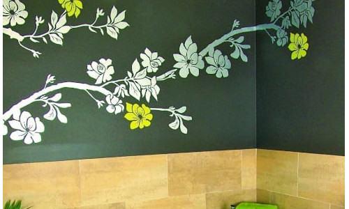 pintar flores pared